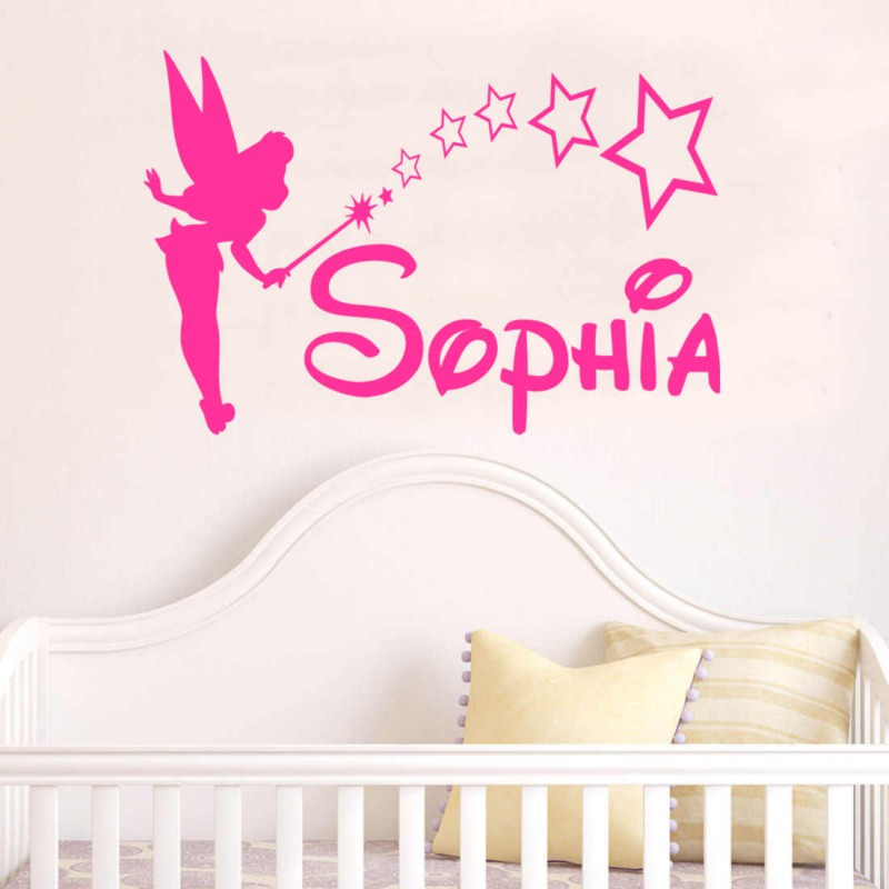 Personalised TINKERBELL Disney Style Wall Art Sticker Children Kids ... Part 69