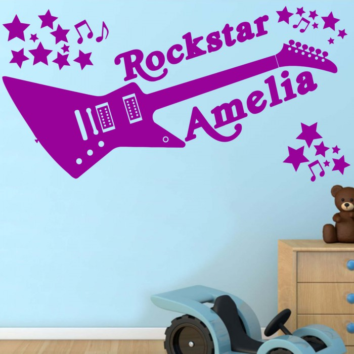 Perfect Rockstar Personalised Any Name, Wall Sticker, Transfer, DECAL WallArt Kids  Bed ... Part 23