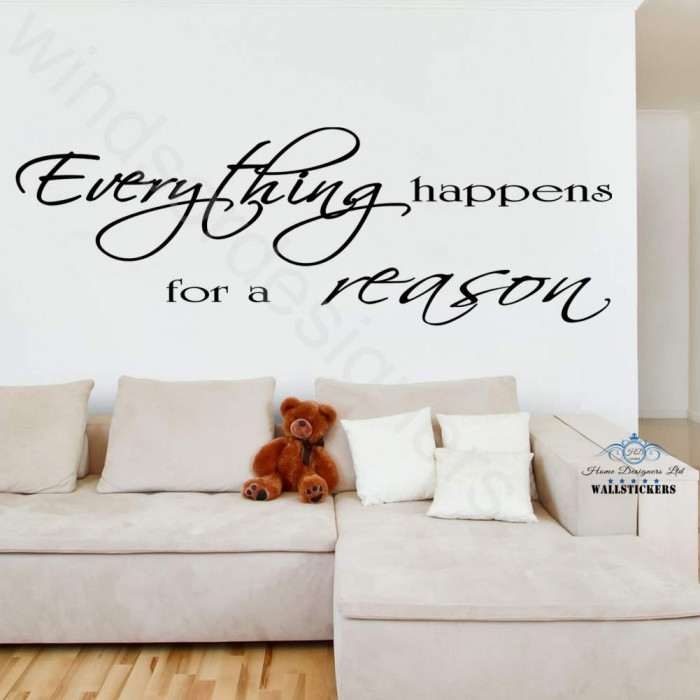 EVERYTHING HAPPENS For A REASON Wall Art Sticker Quote Decor LARGE Design  ... Part 95