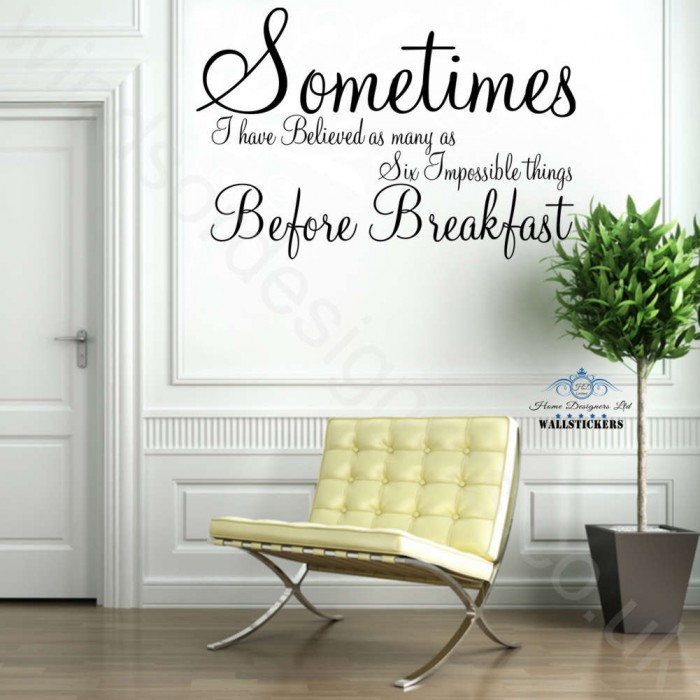 Sometimes ALICE IN WONDERLAND Wall Art Sticker Quote ...