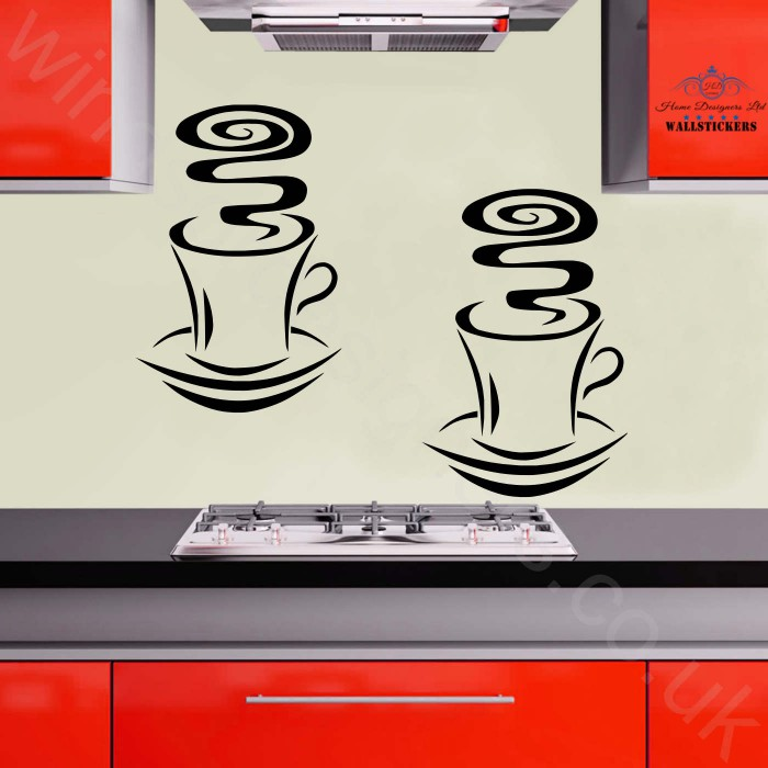 2x CUP OF COFFEE KITCHEN Wall Art STICKER DECOR DA7 Part 58