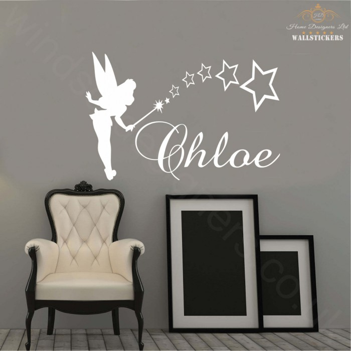 tinkerbell personalised name sticker wall art transfer any personalised wall stickers vivabop
