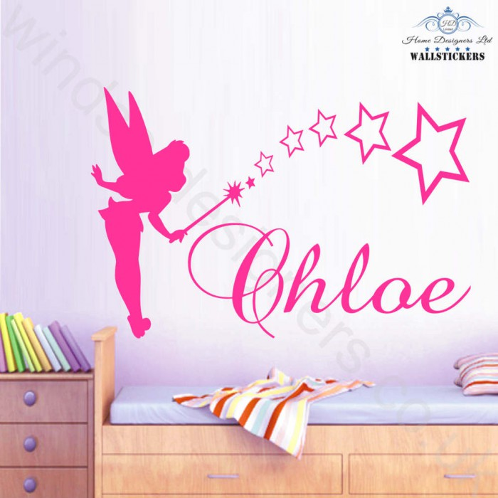tinkerbell personalised name sticker wall art transfer any personalised family kitchen wall art quote wall sticker