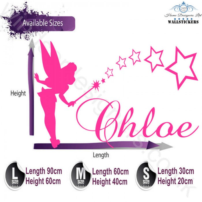 tinkerbell personalised name sticker wall art transfer any personalised wood graffiti name wall art sticker