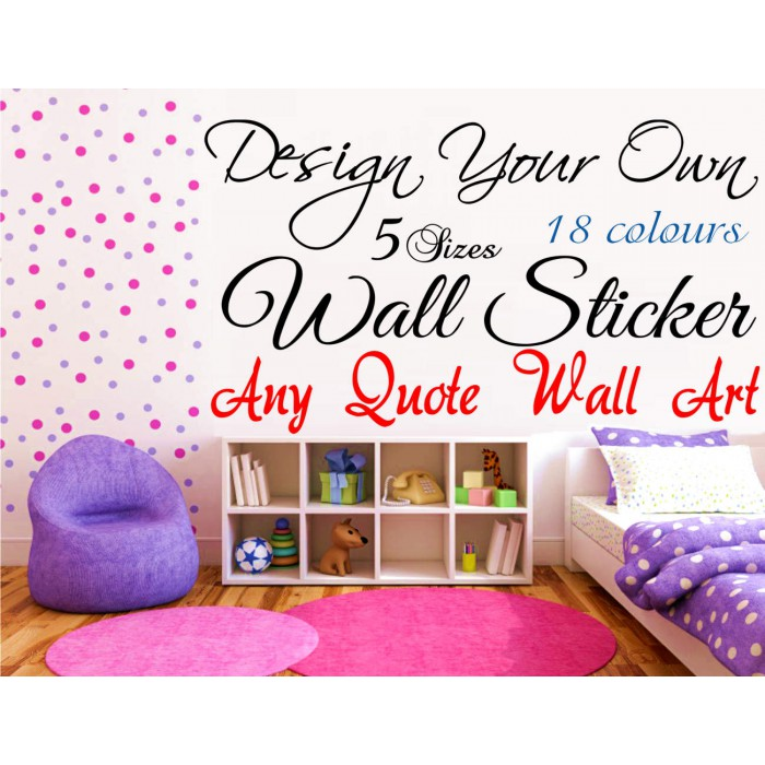 ... Design Your Own Wall Art Quote Text Name Sticker Words ...
