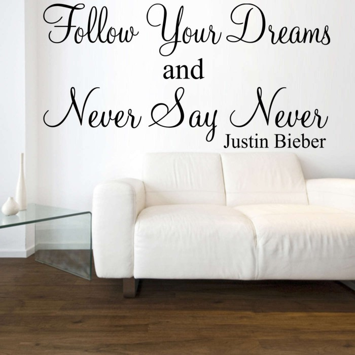 never say never justin bieber wall art sticker quote ebay marilyn monroe imperfection is beauty art wall sticker