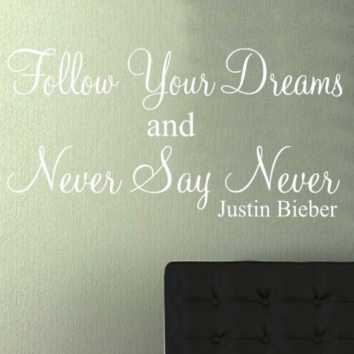 ... NEVER SAY NEVER Justin Bieber Wall Art Sticker Quote Part 65