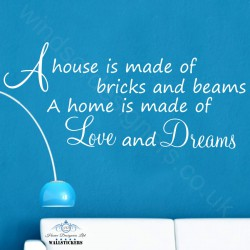House Love and Dreams wall art sticker large decor