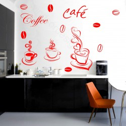COFFEE SET wall art DECAL STICKER KITCHEN decor 33