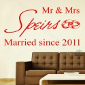 Personalised mr & mrs wedding romantic wallsticker your names