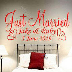 Just Married wedding STICKERS DECALS personalised