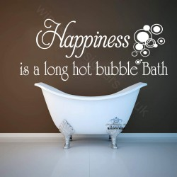 HAPPINESS LONG BATH STICKER BATHROOM WALL ART QUOTE ba4