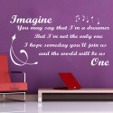 John Lennon IMAGINE sticker lyrics LARGE wall art sticker decor