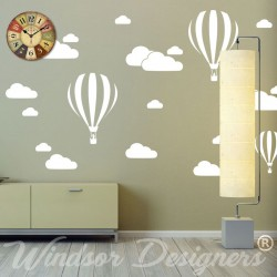 Clouds & Hot Air Balloons Nursery Kids Childs Room Vinyl Wall Art Sticker Decal