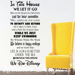 In This House We Do Disney Style Quote Rules Vinyl Wall Art Sticker Mural Kids