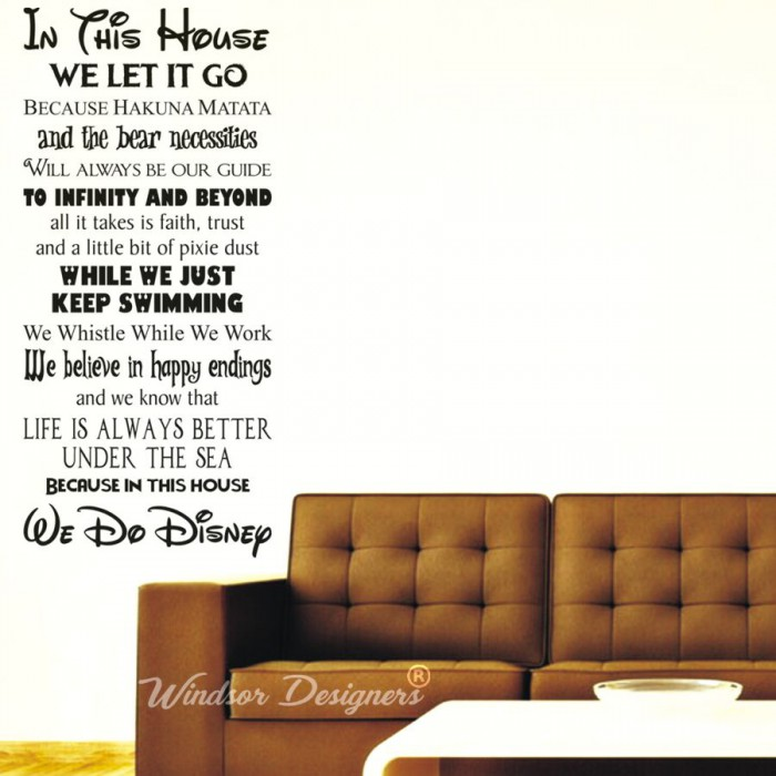 ... In This House We Do Disney Style Quote Rules Vinyl Wall Art Sticker  Mural Kids ... Part 97
