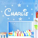 Personalised WALL STICKER Name with Stars, Disney Style children Room, Nursery