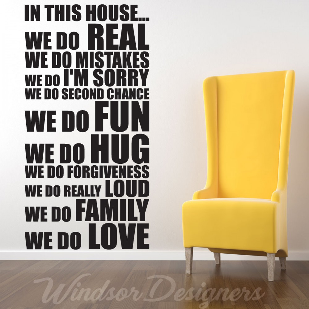 IN THIS HOUSE HOUSE RULES FAMILY WORDS QUOTES WALL STICKERS ...