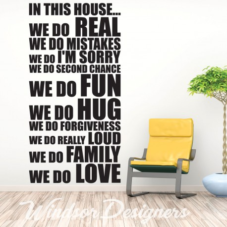 IN THIS HOUSE HOUSE RULES FAMILY WORDS QUOTES WALL STICKERS