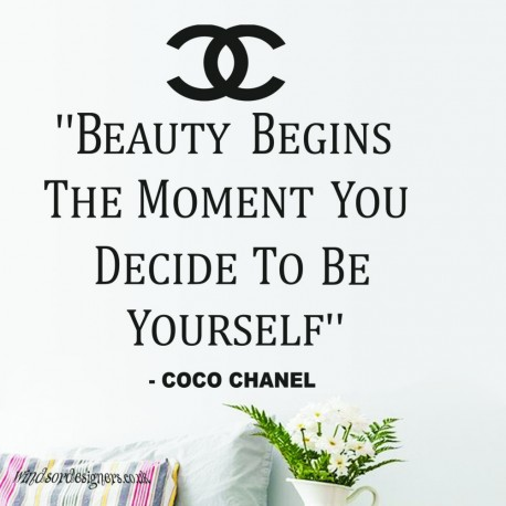 """Coco Chanel """" Beauty Begins The Moment You Decide To Be Yourself"""" Vinyl Wall Art Sticker"""