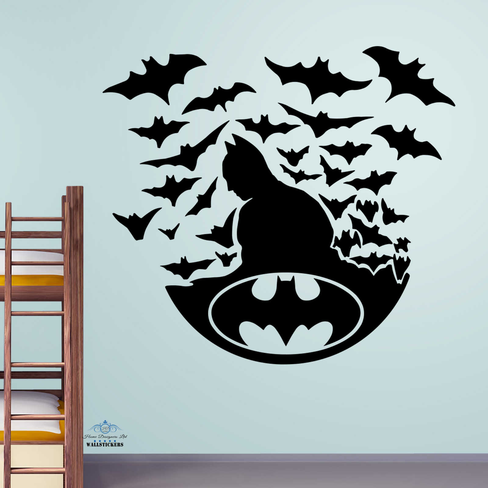 Batman with bats wall sticker kids decal children room for Wall decals kids room
